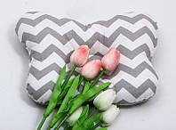 """Детская ортопедическая подушка для новорожденных двухсторонняя """"Зигзаги-совы"""""""
