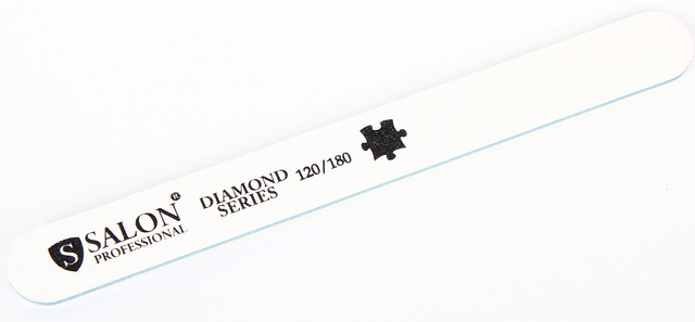 Белая пилочка форма прямая 120/180 Diamond Series SALON CVL /0-4