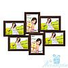Семейная рамка для фото на стену Ретро на 6 фотографий 10х15, антибликовое стекло (коричневый)