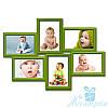 Рамка для фото Ретро на 6 фотографий 10х15, обычное стекло (зелёный)