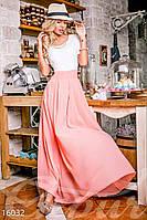 Комбинированное женское платье с длинной шифоновой юбкой верх гипюр с коротким рукавом