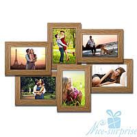 Фоторамка для фото Ретро на 6 фотографій 10х15, брашірованная, звичайне скло (світле дерево)