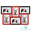 Рамка для фото Диана на 6 фотографий 10х15, антибликовое стекло (чёрно-красный)