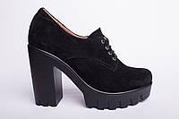 Туфли из натуральной черной замши №310-7, фото 1