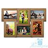 Фоторамка для фото Диана на 6 фотографий 10х15, брашированная, антибликовое стекло (светлое дерево)