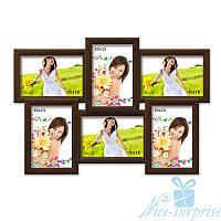 Фоторамка дляфото Классическая на 6 фотографий 10х15, антибликовое стекло (коричневый)
