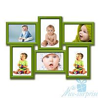 Семейная рамка для фото Классическая на 6 фотографий 10х15, антибликовое стекло (зелёный)