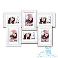 Рамка для фото Классическая на 6 фотографий 10х15, антибликовое стекло (белый)