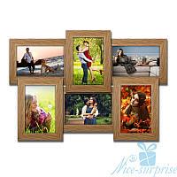 Фоторамка для фото Классическая на 6 фотографий 10х15, брашированная, антибликовое стекло (светлое дерево)
