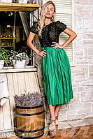Гипюровое женское платье миди с плиссированной юбкой рукав короткий микродайвинг