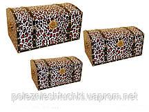 """Набор сундуков 3 шт., 66,59,52 см. """"Леопард"""" разноцветный"""