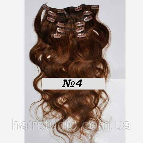 Натуральные волосы на заколках крупная волна оттенок №4