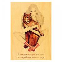 Деревянная открытка Загадка женщины Пума,открытки ручной работы