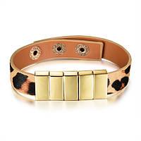 Кожаный браслет женский леопардовый, фото 1