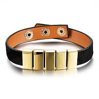 Кожаный браслет женский черный, фото 1