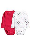 Детские бодики H&M (набор 2 шт).  4-6, 9-12  месяцев, 1,5-2 года