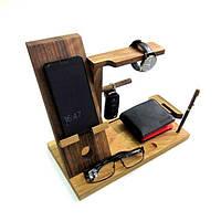 Органайзер из дерева Для него для аксессуаров и смартфона