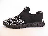 Кроссовки мужские  Adidas Yeezy Boost 350 текстиль, черные с серым(адидас) (р.41)