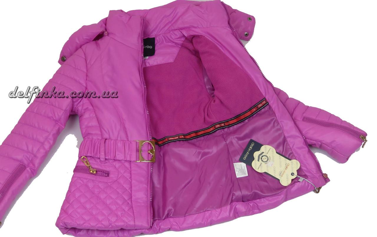 Куртка для девочек  демисизонная 5-9 лет цвет сиреневый, фото 2