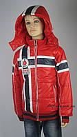 Демисезонная куртка для мальчиков, теплая,размеры с 116-140, цвет красный