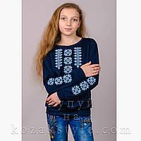 "Трикотажна блузка-вишиванка ""Орнамент"" синя"