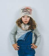 Набор для девочки шапка и хомут,  весна осень