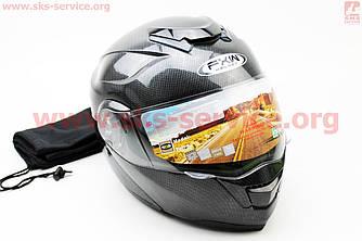 Шлем закрытый с откидным подбородком+очки HF-119 S- ЧЕРНЫЙ карбоновый