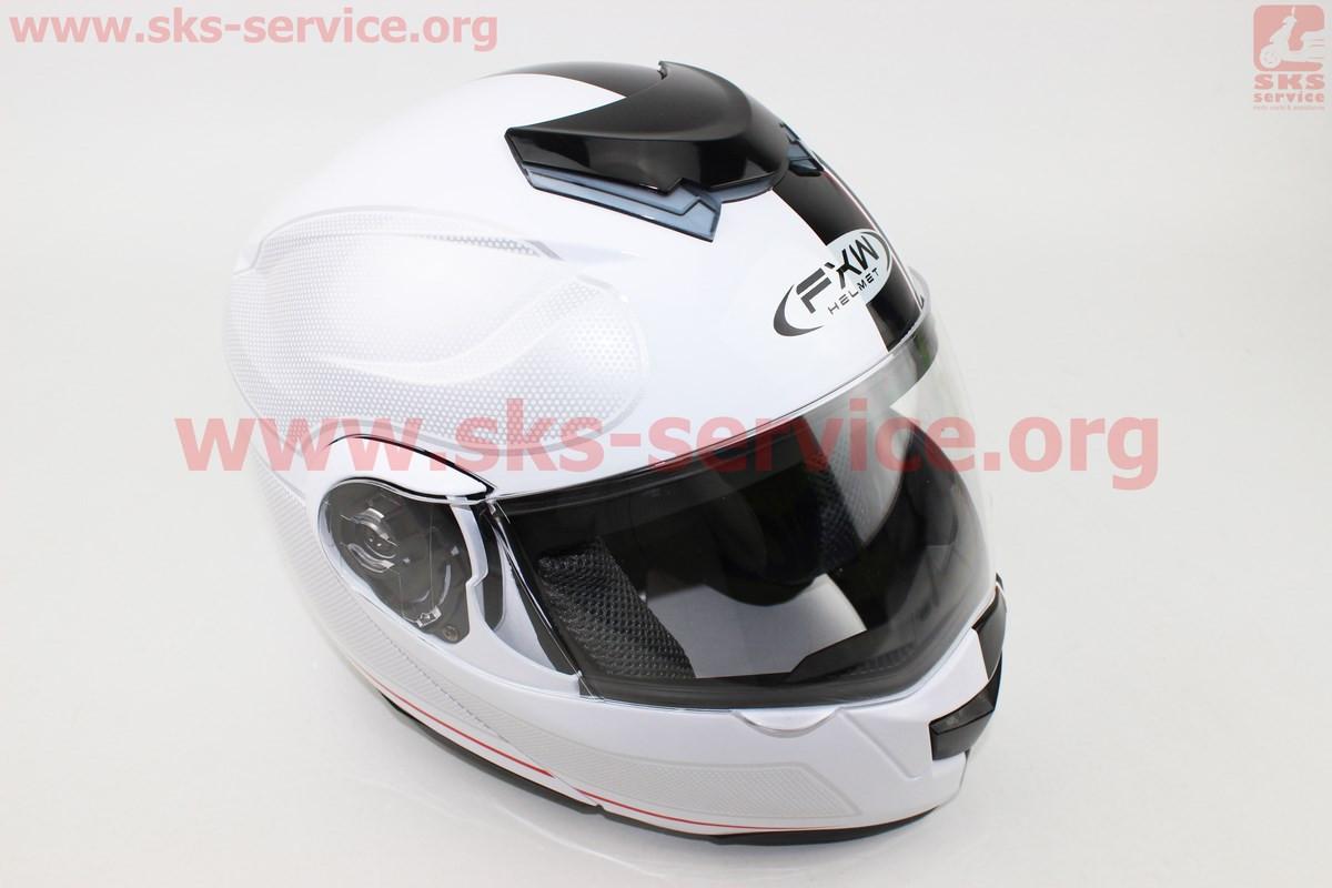 Шлем закрытый с откидным подбородком+очки HF-119 M- БЕЛЫЙ