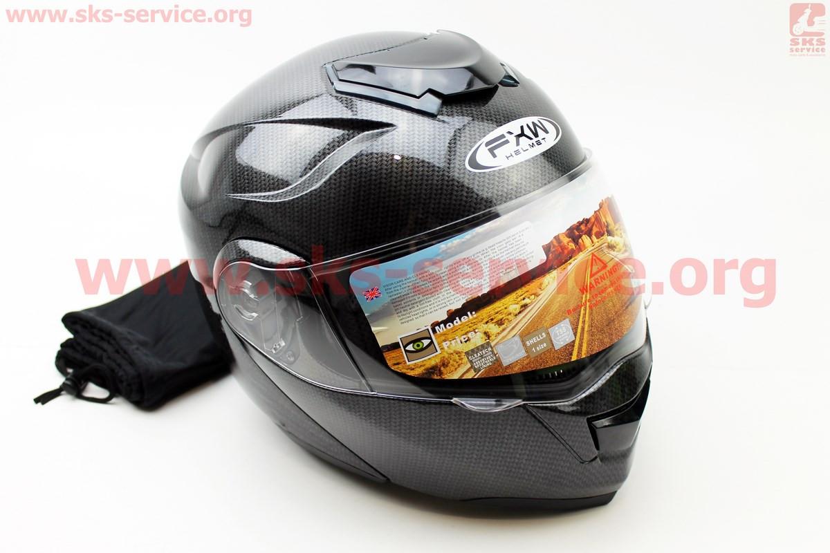 Шлем закрытый с откидным подбородком+очки HF-119 М- ЧЕРНЫЙ карбоновый