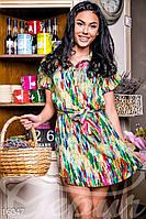 Разноцветное женское платье-рубашка с тонким поясом рукав короткий штапель