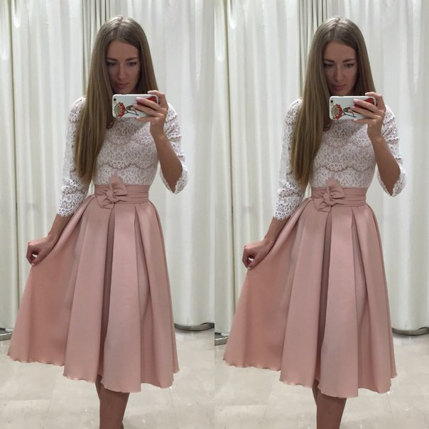 Костюм кружевная кофта + юбка в складку