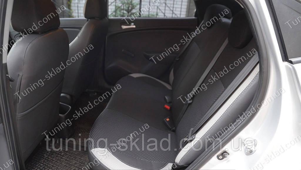 Чехлы на сиденья Хендай Акцент 4 седан (чехлы из экокожи Hyundai Accent 4 4D стиль Premium)