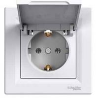 Розетка з кришкою з заземлюючим контактом Asfora, білий EPH3100121, фото 1