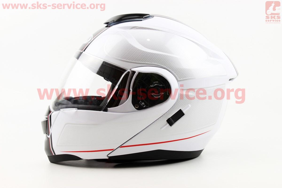 Шлем закрытый с откидным подбородком+очки HF-119 XL- БЕЛЫЙ