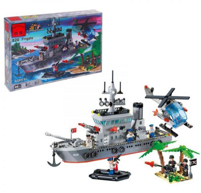 Конструктор BRICK 820 Военный корабль 614 деталей