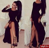 Женское Платье в пол с большим разрезом черное