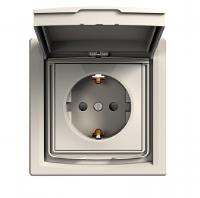 Розетка с заземляющим контактом с защитными шторками ASFORA, IP44, белый, EPH3100321