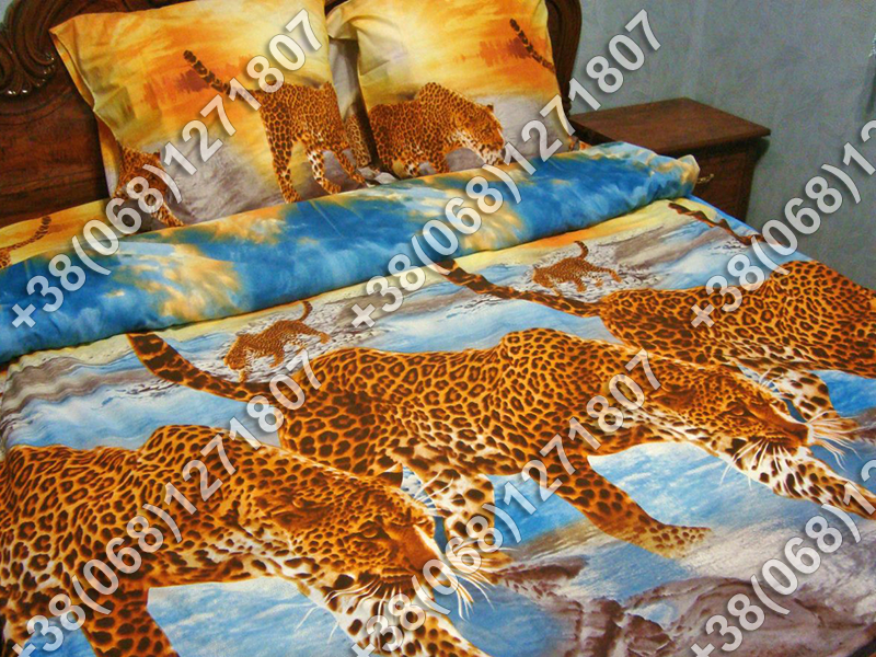 Постельное белье Леопард ранфорс евро комплект