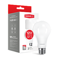 Лампа светодиодная A65 12W 3000K 220V E27 MAXUS (1-LED-563-01)