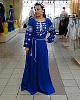 Платье в пол льняное с вышивкой