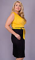 Анхель. Женское легкое платье супер батал. Желтый.