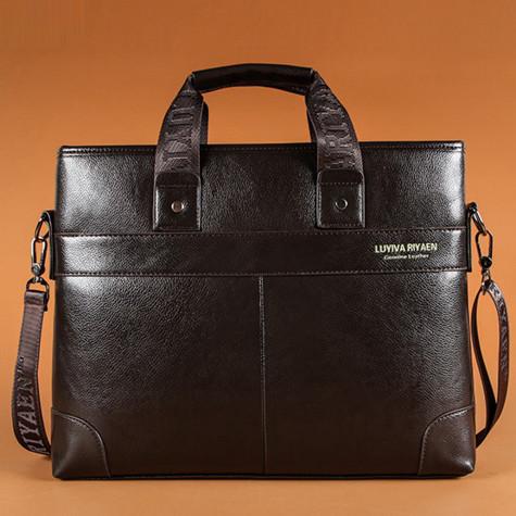 Мужская кожаная горизонтальная сумка-порфель. Модель 04268