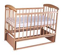 Кроватка детская Наталка с маятником светлая ясень