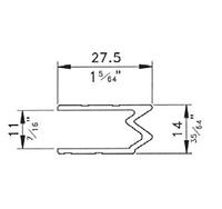 """Профиль Е2375. Гибрид или """"замочный"""" алюминиевый. Для панелей 11мм."""