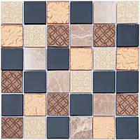 Мозаика мрамор стекло Vivacer Mix Bronze