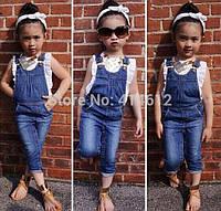 Комплект одежды для девочек, джинсовый комбинезон и футболка
