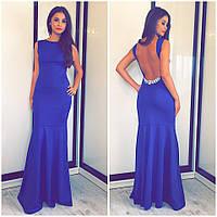 Женское вечернее платье в пол с камнями синее, фото 1