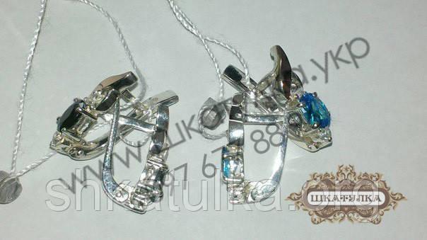 Серебряные серьги с золотом и фианитом
