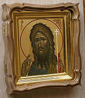 Фигурный киот из ореха для миниатюрной иконы с внутренней золочёной рамкой., фото 2