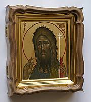 Фигурный киот из ореха для миниатюрной иконы с внутренней золочёной рамкой., фото 3